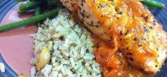 פילה סלמון, אורז מלא ושעועית ירוקה